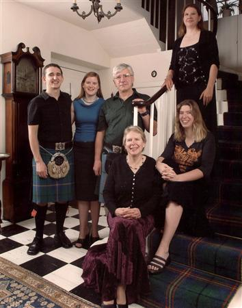 The Campbell family (L-R) Andrew the Master of Carmichael, Theresa Carmichael, Richard Carmichael of Carmichael, Patricia the Lady of Carmichael, Sarah Carmichael and Marama Carmichael, pose for a photograph at the clan's family home in Biggar, Scotland in this November 1, 2005 file photograph. When the ancient system of Scottish tribes risked fading away two decades ago, the 30th chief of the Carmichael clan turned to the Mormons, enthusiastic North Americans and the Internet to revive it. REUTERS/Richard Campbell/Files