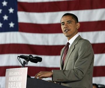 Democratic presidential candidate Senator Barack Obama speaks during a discussion on protecting home ownership at the College of Southern Nevada in North Las Vegas, May 27, 2008. REUTERS/Steve Marcus