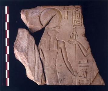 An ancient Egyptian inscription which was found in what archaeologists believe is the fortress town of Tharu in northern Sinai, is seen in this undated handout photo made available May 28, 2008. Egyptian archaeologists have discovered what they say was the ancient headquarters of the Pharaonic army guarding the northeastern borders of Egypt for more than 1,500 years, the government said on Wednesday. The fortress and adjoining town, which they identify with the ancient place name Tharu, lies in the Sinai peninsula about 3 km (2 miles) northeast of the modern town of Qantara, Egyptian archaeologist Mohamed Abdel Maksoud told Reuters. REUTERS/Supreme Council of Antiquities/Handout