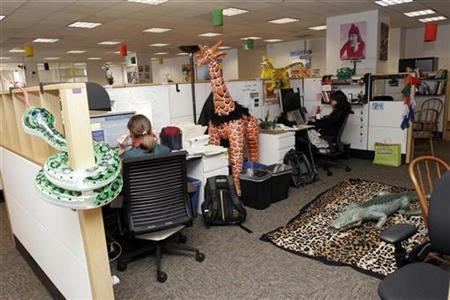 At the the new Google offices in downtown San Francisco, CA, employees work in their shared office space, decorated with a safari theme March 3, 2008. REUTERS/Erin Siegal