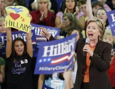 Democratic presidential contender Senator Hillary Clinton campaigns during a rally at Logan Middle School in West Virginia, May 12, 2008. REUTERS/Jason Reed US