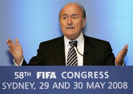 FIFA President Sepp Blatter gestures during his speech on day two of the 58th FIFA congress in Sydney May 30, 2008. REUTERS/Will Burgess