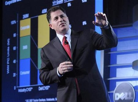 File photo shows Dell Inc Chief Executive and founder Michael Dell addressing investors at the Dell 2008 Equity Analyst Meeting in Round Rock, Texas, April 3, 2008. REUTERS/Bob Pearson