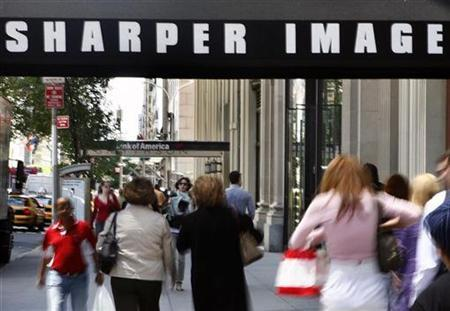A Sharper Image storefront entrance is seen in New York, May 28, 2008. REUTERS/Shannon Stapleton