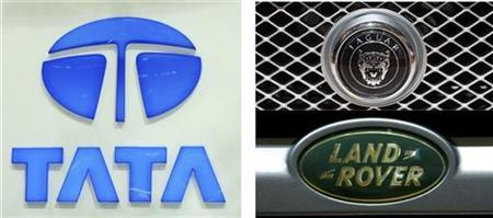 A combo of pictures shows the logos of carmakers Tata Motors of India (L), Jaguar (top R) and Land Rover (bottom R) during the first media day of the 78th Geneva Car Show March 4, 2008. REUTERS/Denis Balibouse/Arnd Wiegmann