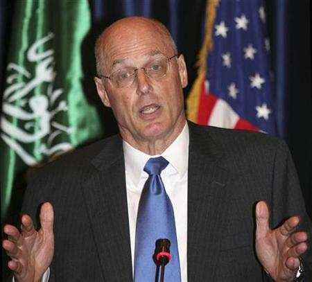 Treasury Secretary Henry Paulson speaks during a news conference in Jeddah, Saudi Arabia, May 31, 2008. REUTERS/Suzan Baaghil
