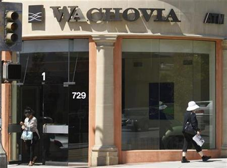 A woman walks out of a branch of Wachovia bank in Santa Monica, California in this April 14, 2008 file photo. REUTERS/Lucy Nicholson