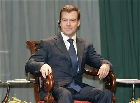 Russia's President Dmitry Medvedev is pictured during his visit to Beijing University May 24, 2008. REUTERS/Alexander Natruskin