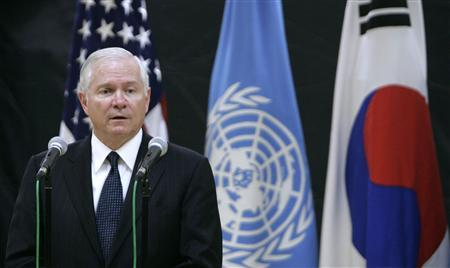 Defense Secretary, Robert Gates, answers a reporter's question during a news conference after a change of command ceremony for the United Nations Command, Combined Forces Command and United States Forces Korea at Yongsan Garrison, the U.S. military base, in Seoul June 3, 2008. REUTERS/Jo Yong-Hak