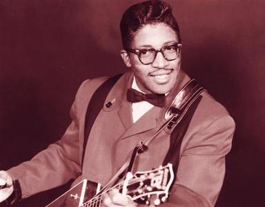 Legendary blues guitarist Bo Diddley in an undated photo. The rock 'n' roll pioneer, who banged out hit songs powered by the relentless ''Bo Diddley beat'' that influenced rockers from Buddy Holly to U2, died on Monday at the age of 79. REUTERS/Courtesy Universal Music Group/Handout