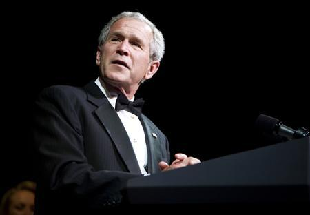 President George W. Bush makes remarks after the Ford's Theatre Gala at the National Theatre in Washington, DC June 1, 2008. REUTERS/Joshua Roberts