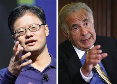 Yahoo chief executive Jerry Yang (L) and activist investor Carl Icahn in a composite image. Yahoo set plans on Tuesday to hold its annual shareholder meeting on August 1, setting the stage for a showdown with Icahn, who is mounting a proxy fight for control of the company. REUTERS/Files