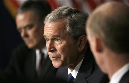 President George W. Bush speaks about the benefits of his 2003 tax relief act in Washington June 2, 2008. REUTERS/Kevin Lamarque