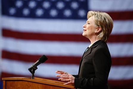Democratic presidential candidate Senator Hillary Clinton (D-NY) speaks at the National Building Museum in Washington June 7, 2008. REUTERS/Joshua Roberts