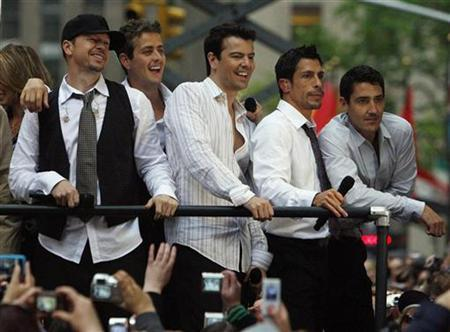 The New Kids on the Block (from-L) Donnie Wahlberg, Joey McIntyre, Jordan Knight, Danny Wood and Jonathan Knight appear on NBC's 'Today' show in New York May 16, 2008. REUTERS/Brendan McDermid