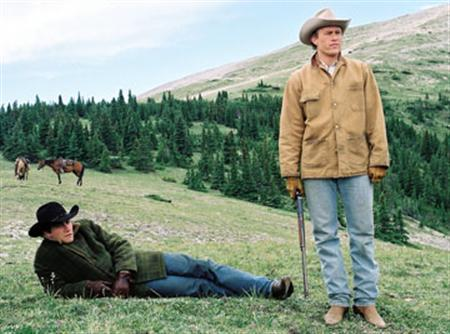 Jake Gyllenhaal and Heath Ledger in a scene from the 2005 film ''Brokeback Mountain''. New York City Opera has commissioned American composer Charles Wuorinen to write an opera based on the love story about two U.S. ranch-hands that won three Oscars when it was turned into a movie. REUTERS/Focus Features/Handout