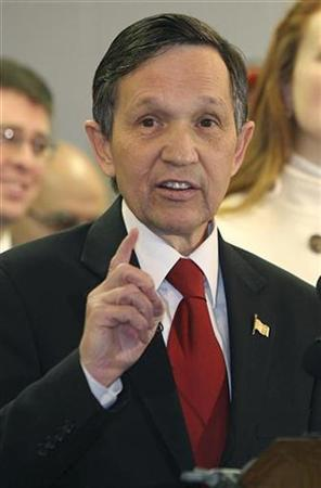 Rep. Dennis Kucinich (D-OH) announces his withdrawal from the Democratic presidential nomination in Cleveland, Ohio January 25, 2008. REUTERS/Aaron Josefczyk