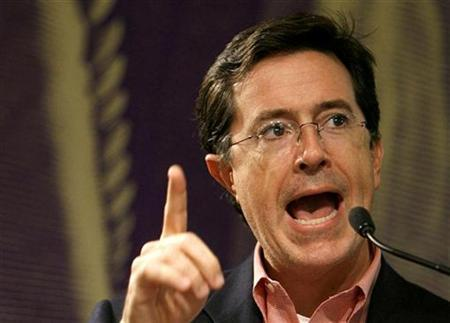 Stephen Colbert reads passages from his new book ''I Am America (And So Can You!)'' during a book signing event in New York October 24, 2007. REUTERS/Lucas Jackson