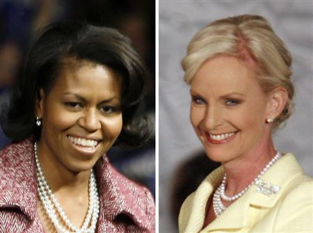 Michelle Obama (L) and Cindy McCain are seen in a combination file photo. REUTERS/File