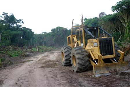A logging company's tractor sits on the side of a road that has been cut into Congo's forest in the northern province of Equateur October 8, 2004 in this file photo taken October 8, 2004.Africa is suffering deforestation at twice the world rate and the continent's few glaciers are shrinking fast, according to a U.N. atlas on Tuesday. REUTERS/David Lewis