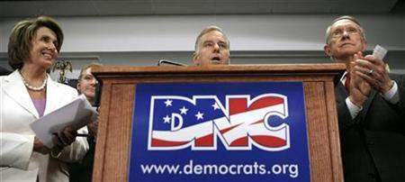 Democratic National Committee Chairman Howard Dean (C), Speaker of the House Nancy Pelosi (L) and Senate Majority Leader Harry Reid (R) gather with other Democratic leaders to speaks about Barack Obama and the November election at DNC Headquarters in Washington June 10, 2008. REUTERS/Kevin Lamarque