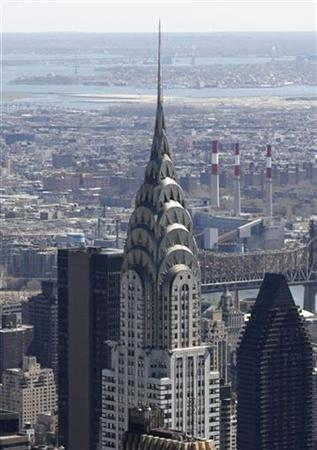 The Chrysler Building is pictured on the skyline of Manhattan looking northeast from the Empire State Building in New York April 15, 2008. REUTERS/Gary Hershorn
