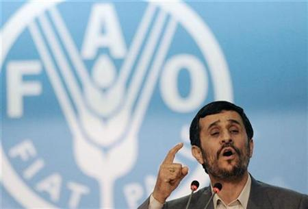 Iran's President Mahmoud Ahmadinejad speaks at a U.N. crisis summit on rising food prices at the Food and Agriculture Organisation (FAO) in Rome June 3, 2008. REUTERS/Christophe Simon/Pool