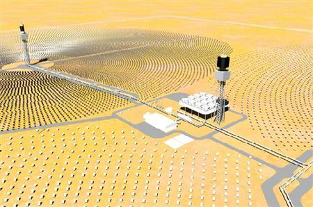 A solar ''power tower'' in an undated illustration courtesy of BrightSource Energy. The company said it will open a solar ''power tower'' in Israel this week to test new technology it will use when building power plants next year in California. REUTERS/Handout