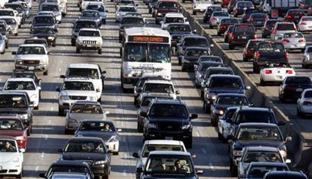 Vehicles are seen during rush hour on the 405 freeway in Los Angeles, California October 3, 2007. The number of senior drivers is expected to soar by 70 percent in the next 20 years but many adults are reluctant to talk to their aging parents about their driving abilities. REUTERS/Lucy Nicholson