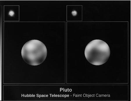 These pictures of the surface of Pluto were taken from the Hubble Space Telescope with the European Space Agency's Faint Object Camera, and were made in June and July of 1994 Pluto, demoted from planet status in 2006, got a consolation prize on Wednesday -- it and other dwarf planets like it will be called plutoids.PLUTO