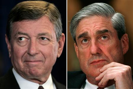 A combination image showing former Attorney General John Ashcroft (L) and FBI Director Robert Mueller. REUTERS/Lucy Nicholson (L)/Jim Young (R)
