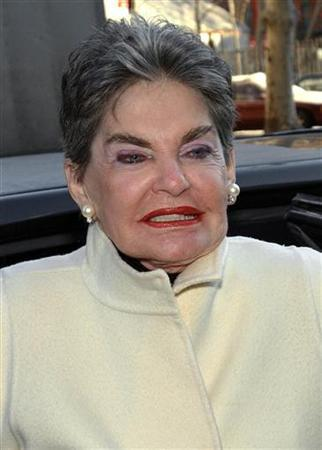 Real estate baroness Leona Helmsley appears for court in New York on January 21, 2003. REUTERS/Chip East