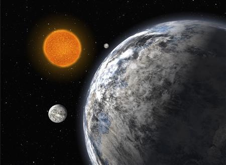 An artist's impression of the trio of super-Earths discovered by an European team using the HARPS spectrograph on ESO's 3.6-m telescope at La Silla, Chile, after five years of monitoring. REUTERS/ESO/Handout