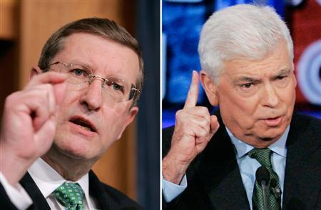 Senators Kent Conrad (D-ND) (L) and Christopher Dodd (D-CT) are seen in a combination photo. REUTERS/Larry Downing (L)/Steve Marcus (R)