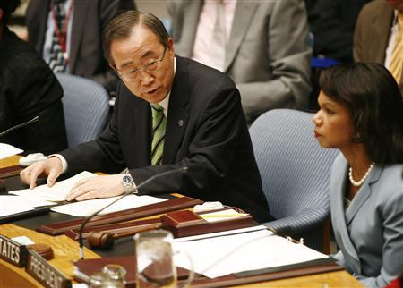 United Nations Secretary General Ban Ki-moon speaks with U.S. Secretary of State Condoleezza Rice before addressing members of the Security Council at the United Nations in New York, June 19, 2008. REUTERS/Shannon Stapleton