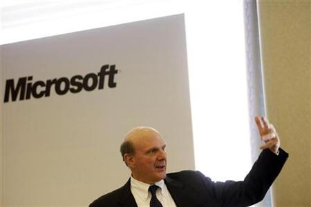 Microsoft Chief Executive Officer Steve Ballmer speaks during a luncheon and conference on technology and innovation in Madrid April 25, 2008. REUTERS/Susana Vera