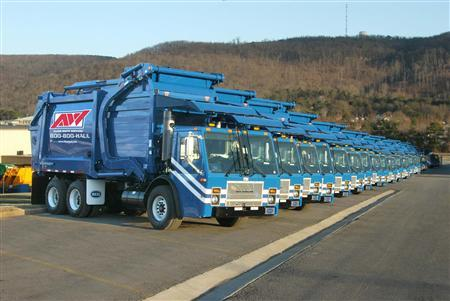 Allied Waste trucks are lined up in an undated handout photo. REUTERS/Allied Waste/Handout