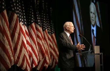 Republican White House candidate John McCain speaks at the National Federation of Independent Business' 2008 Small Business Summit in Washington June 10, 2008. REUTERS/Kevin Lamarque