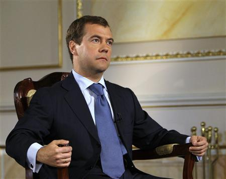 Russia's President Dmitry Medvedev attends an interview with Reuters in Moscow June 23, 2008. REUTERS/Grigory Dukor