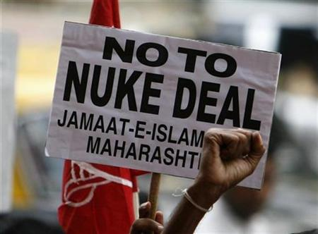 Activists take part in a protest against India's possible civilian nuclear deal with the United States in Mumbai June 24, 2008. REUTERS/Arko Datta