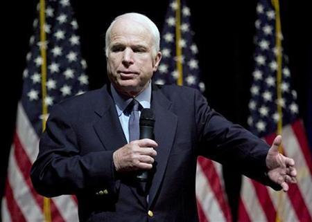 Republican presidential candidate Senator John McCain speaks during a visit in Charlotte, North Carolina, May 5, 2008. REUTERS/Chris Keane