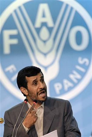 Iran's President Mahmoud Ahmadinejad speaks at a U.N. crisis summit on rising food prices at the Food and Agriculture Organisation (FAO) in Rome in this June 3, 2008 file photo. REUTERS/Christophe Simon/Pool/Files