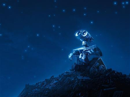 The animated character Wall-E is shown in a scene from the film ''Wall-E''. The film features dystopian landscapes, social commentary and a lack of conventional dialogue that are rare under the Walt Disney Co. banner, but it sticks to Pixar's basic themes of love, loyalty and friendship. REUTERS/Disney-Pixar/Handout