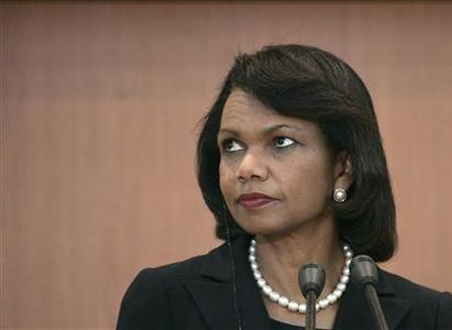 Secretary of State Condoleezza Rice listens to a reporter's question during a joint news conference with South Korea's Foreign Minister Yu Myung-hwan at the Foreign Ministry in Seoul June 28, 2008. REUTERS/Jo Yong-Hak