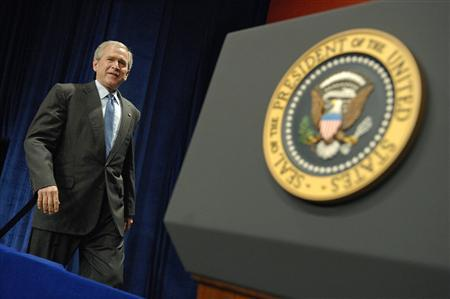 U.S. President George W. Bush arrives to deliver remarks at the Office of Faith-Based and Community Initiatives National Conference in Washington, June 26, 2008. .S. congressional leaders agreed late last year to President George W. Bush's funding request for a major escalation of covert operations against Iran aimed at destabilizing its leadership, according to a report in The New Yorker magazine published online on Sunday. REUTERS/Jonathan Ernst