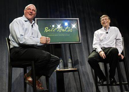 Microsoft Chairman Bill Gates (R) and CEO Steve Ballmer face employees during a farewell event celebrating Gates' years at Microsoft, on his last day as a full-time employee at the company headquarters in Redmond, Washington June 27, 2008. REUTERS/Robert Sorbo-Microsoft/Handout
