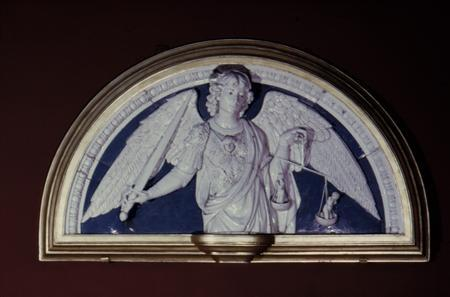 A late 15th-century glazed terracotta relief sculpture of Saint Michael the Archangel by Andrea della Robbia (1435-1525), is shown in this handout photo. REUTERS/The Metropolitan Museum of Art/Handout