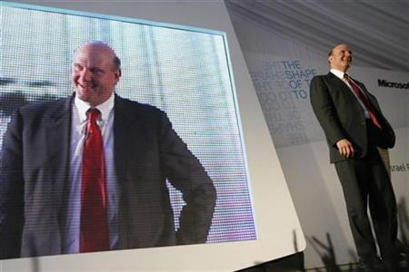 Microsoft CEO Steve Ballmer speaks near Tel Aviv, May 21, 2008. REUTERS/Gil Cohen Magen