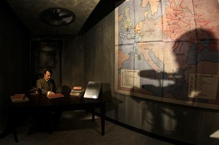 A wax figure of Adolf Hitler is pictured in a mock bunker at the German 'Madame Tussauds' during a press preview in Berlin, July 3, 2008. REUTERS/Tobias Schwarz