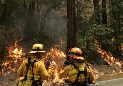 A pair of firefighters watch over a backfire set during a massive wildfire in Big Sur, California July 6, 2008. Fire crews have successfully defended the village of Big Sur but have been able to contain only 5 percent of Basin Complex blaze, which has destroyed about 20 homes. REUTERS/Robert Galbraith